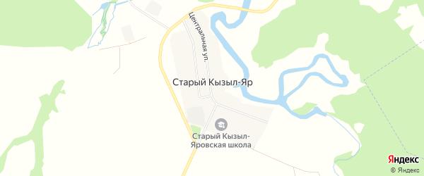 Карта деревни Старый Кызыл-Яр в Башкортостане с улицами и номерами домов
