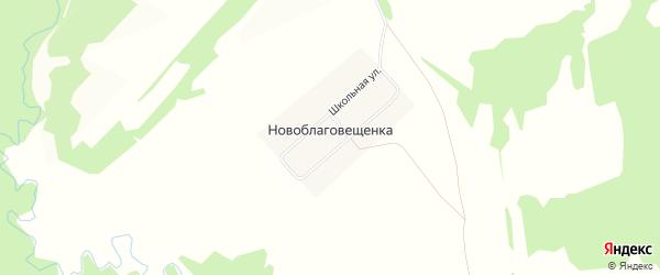 Карта деревни Новоблаговещенки в Башкортостане с улицами и номерами домов