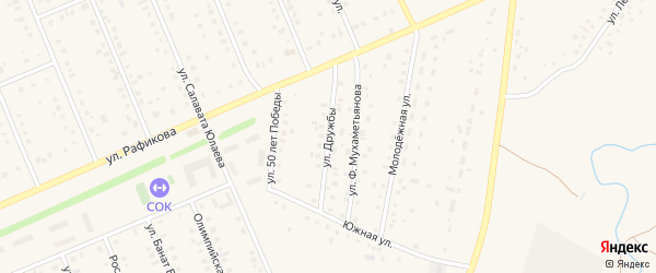 Улица Дружбы на карте села Кармаскалы с номерами домов