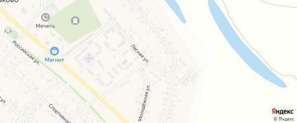Лесная улица на карте деревни Кабаково с номерами домов