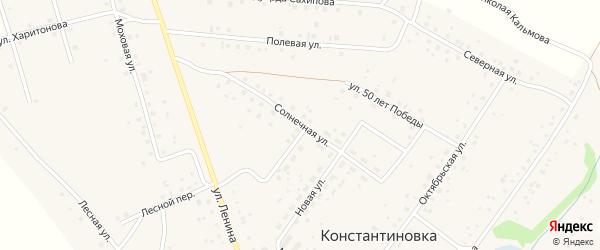 Солнечная улица на карте деревни Константиновки с номерами домов