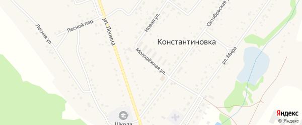 Молодежная улица на карте деревни Константиновки с номерами домов