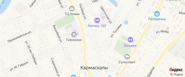 Полевая улица на карте села Кармаскалы с номерами домов