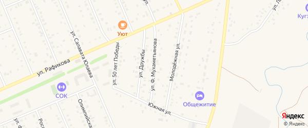 Улица Ф.Мухаметьянова на карте села Кармаскалы с номерами домов