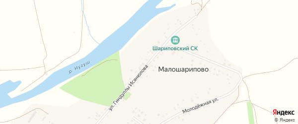Улица Гиндуллы Исянюлова на карте деревни Малошарипово с номерами домов