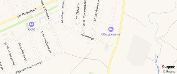 Южная улица на карте села Кармаскалы с номерами домов