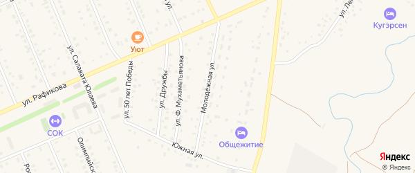 Молодежная улица на карте села Кармаскалы с номерами домов