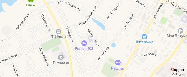 Цветочная улица на карте села Кармаскалы с номерами домов
