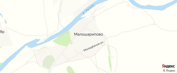 Карта деревни Малошарипово в Башкортостане с улицами и номерами домов