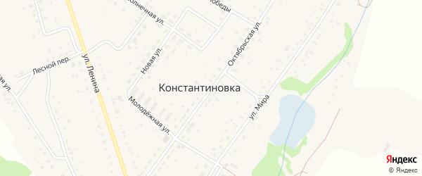 Октябрьская улица на карте деревни Константиновки с номерами домов