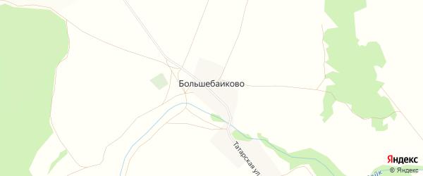 Карта деревни Большебаиково в Башкортостане с улицами и номерами домов