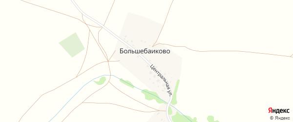 Центральная улица на карте деревни Большебаиково с номерами домов