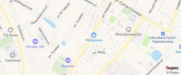 Улица Кирова на карте села Кармаскалы с номерами домов