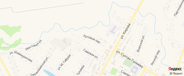 Луговой переулок на карте села Кармаскалы с номерами домов