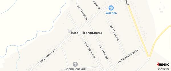 Молодежная улица на карте села Чуваша-Карамалы с номерами домов
