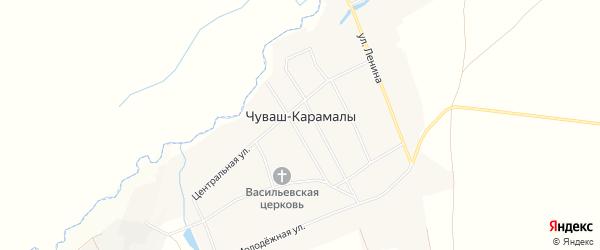 Карта села Чуваша-Карамалы в Башкортостане с улицами и номерами домов