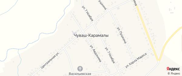 Улица В.Николаева на карте села Чуваша-Карамалы с номерами домов