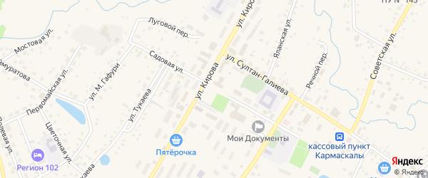 Садовая улица на карте села Кармаскалы с номерами домов