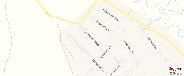 Улица Новоселов на карте села Кинзебулатово с номерами домов
