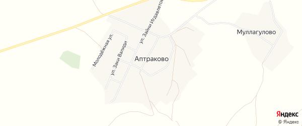 Карта деревни Аптраково в Башкортостане с улицами и номерами домов
