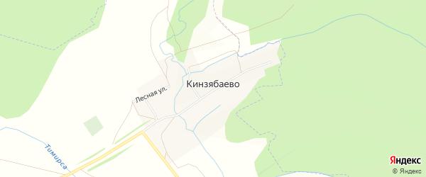 Карта деревни Кинзябаево в Башкортостане с улицами и номерами домов