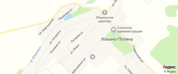 Карта села Ильина-Поляны в Башкортостане с улицами и номерами домов