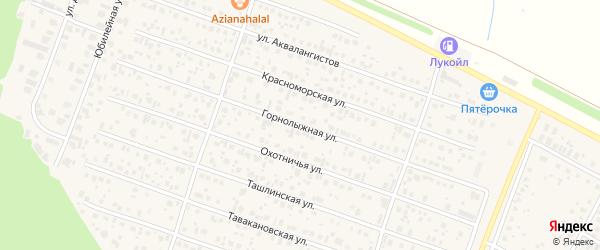 Горнолыжная улица на карте села Акбердино с номерами домов