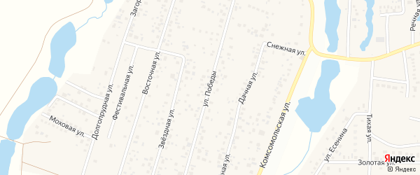 Улица Победы на карте деревни Бурцево с номерами домов