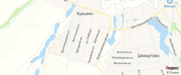 Карта деревни Бурцево в Башкортостане с улицами и номерами домов