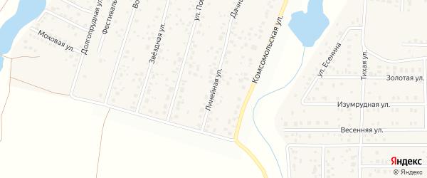 Линейная улица на карте деревни Бурцево с номерами домов