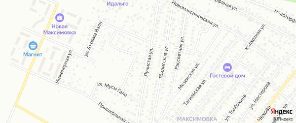 Лучистая улица на карте Уфы с номерами домов