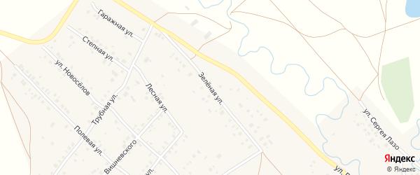 Зеленая улица на карте села Кинзебулатово с номерами домов
