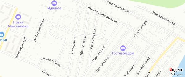 Рассветная улица на карте Уфы с номерами домов