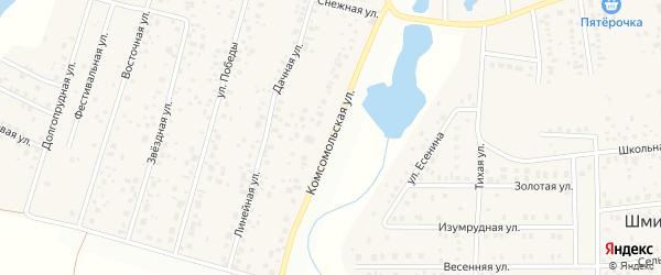 Комсомольская улица на карте деревни Бурцево с номерами домов