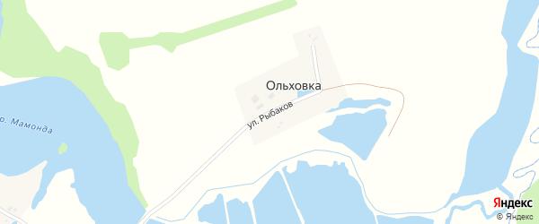 Улица Рыбаков на карте деревни Ольховки с номерами домов