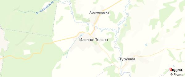 Карта Ильино-Полянского сельсовета республики Башкортостан с районами, улицами и номерами домов