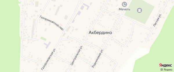 Центральная улица на карте села Акбердино с номерами домов