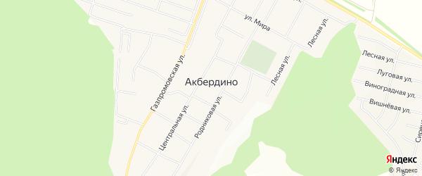 СТ Акбердино-Виллэдж на карте села Акбердино с номерами домов