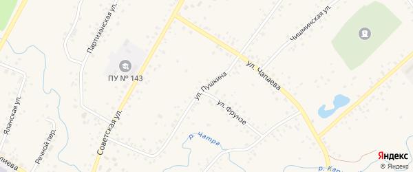 Улица Пушкина на карте села Кармаскалы с номерами домов