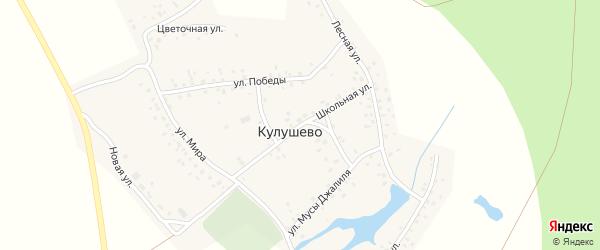 Школьная улица на карте деревни Кулушево с номерами домов