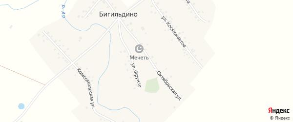 Улица Фрунзе на карте деревни Бигильдино с номерами домов