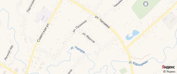 Улица Фрунзе на карте села Кармаскалы с номерами домов
