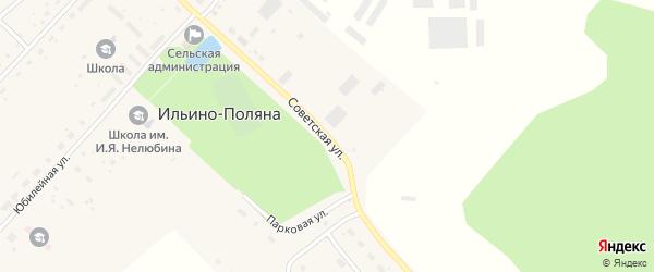 Советская улица на карте села Ильина-Поляны с номерами домов