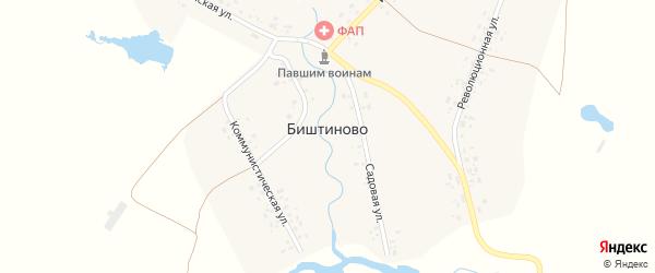 Садовая улица на карте деревни Биштиново с номерами домов