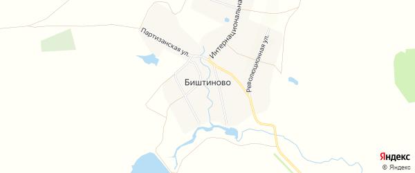 Карта деревни Биштиново в Башкортостане с улицами и номерами домов