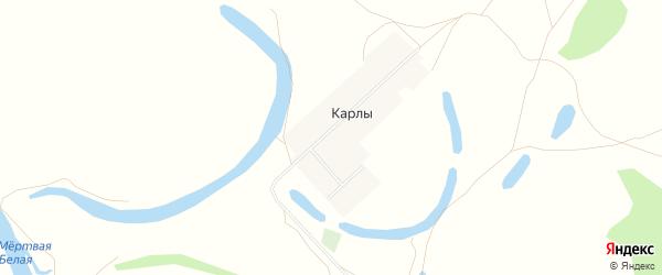 Карта деревни Карлы в Башкортостане с улицами и номерами домов