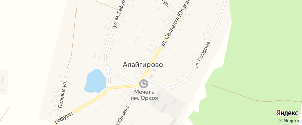 Улица С.Юлаева на карте деревни Алайгирово с номерами домов