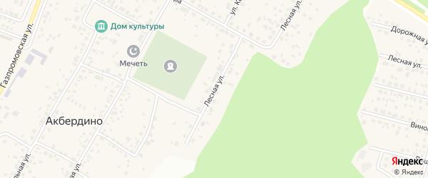 Лесная улица на карте села Акбердино с номерами домов