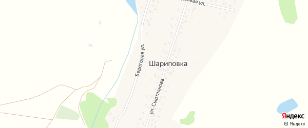 Прудовая улица на карте деревни Шариповки с номерами домов