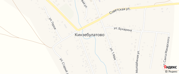 Улица Мажита Гафури на карте села Кинзебулатово с номерами домов